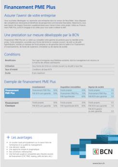 Vignette brochure Financement PME Plus